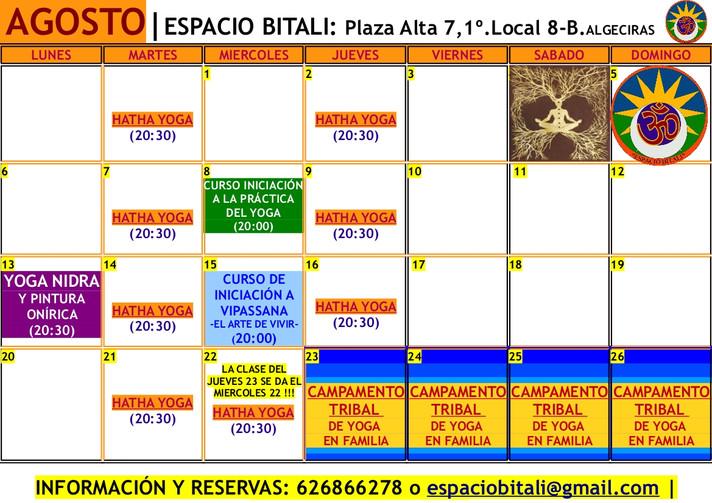 PROGRAMA ACTIVIDADES AGOSTO | ESPACIO BITALI