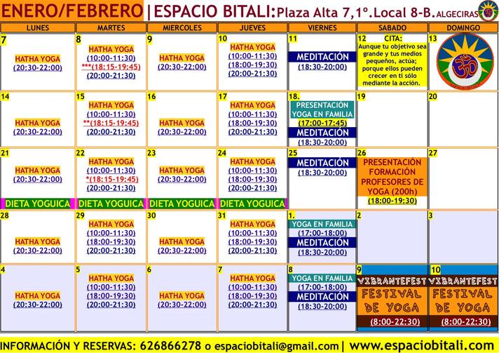 PROGRAMA DE ACTIVIDADES ENERO 2019 | ESPACIO BITALI