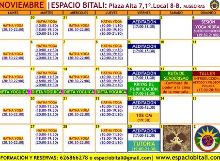 Programa de Actividades Noviembre   Espacio Bitali   Escuela de Yoga   Algeciras