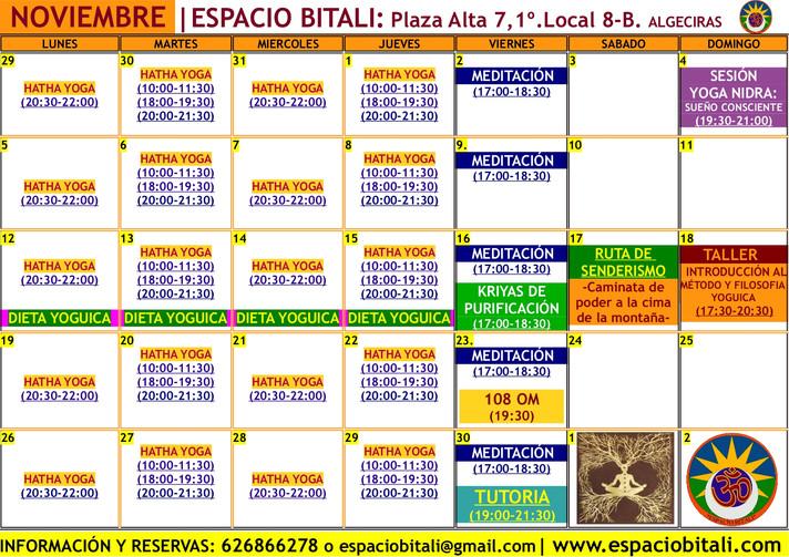 Programa de Actividades Noviembre | Espacio Bitali | Escuela de Yoga | Algeciras