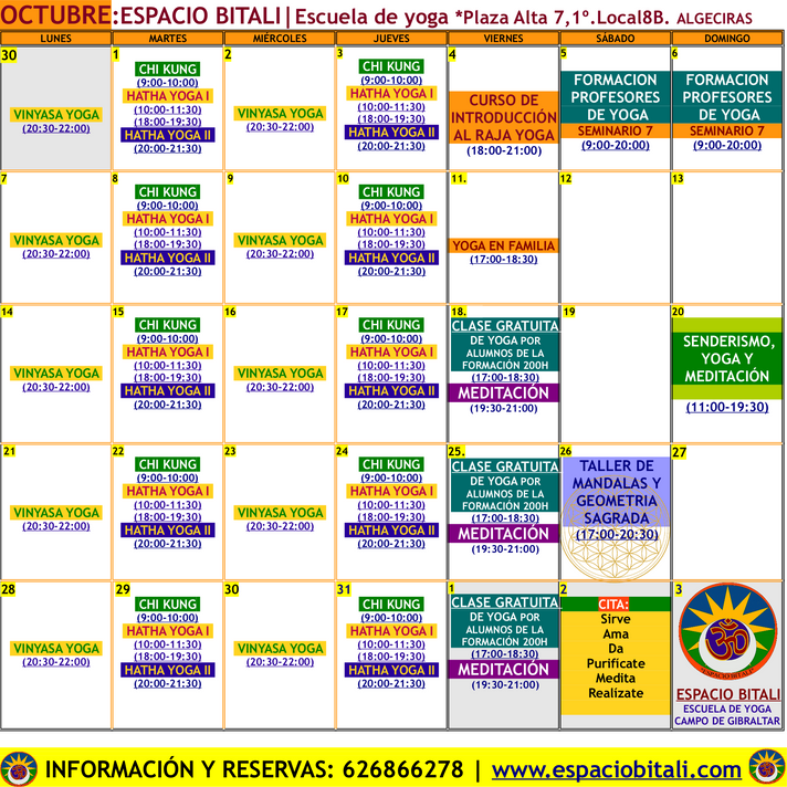 OCTUBRE | ESPACIO BITALI | YOGA ALGECIRAS