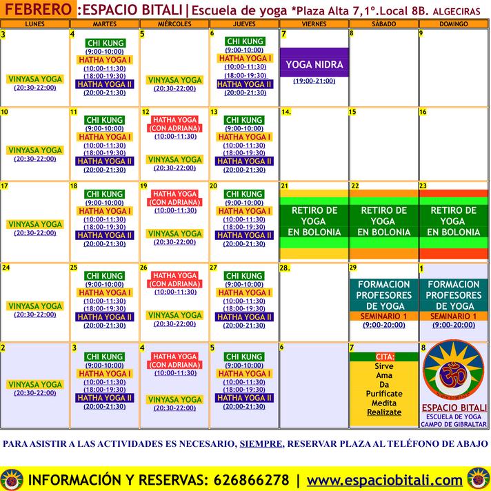 Programa actividades Febrero | Espacio Bitali | Algeciras