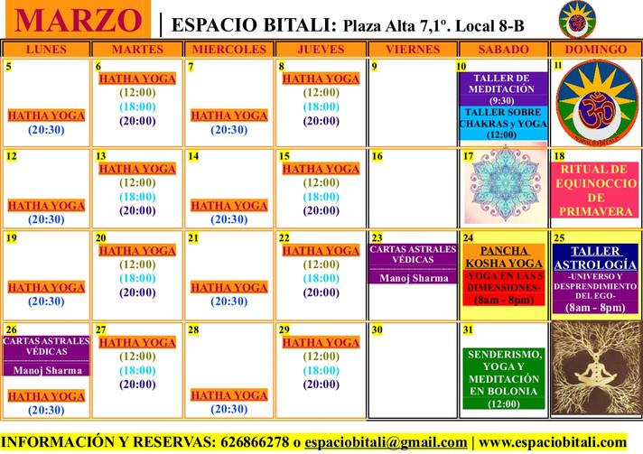 Programa de actividades Marzo | Espacio Bitali