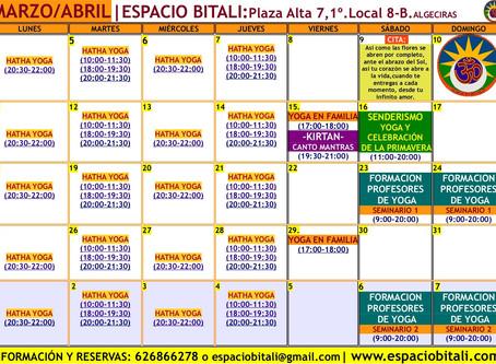 Clases de Yoga en Algeciras   Programa Marzo   Espacio Bitali