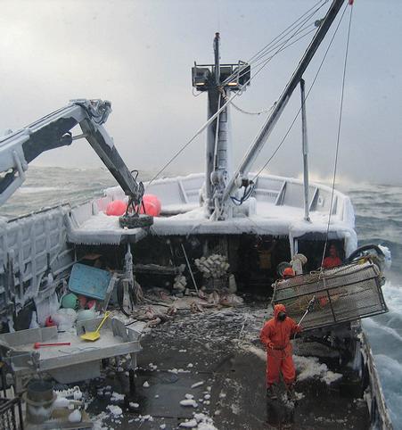Commercial fishermen working in treacherous conditions