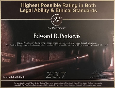 Martindale Hubbell AV rating; highest possible lawyer rating.