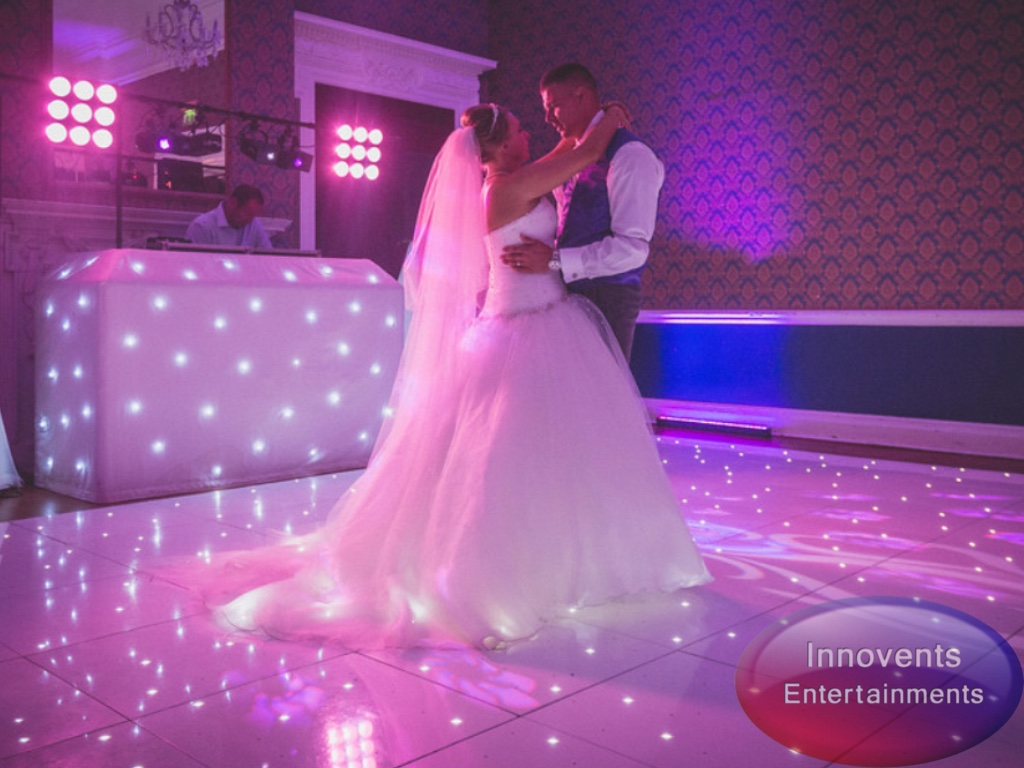 EP 1st dance with white led dance floor and uplighting with logo.JPG