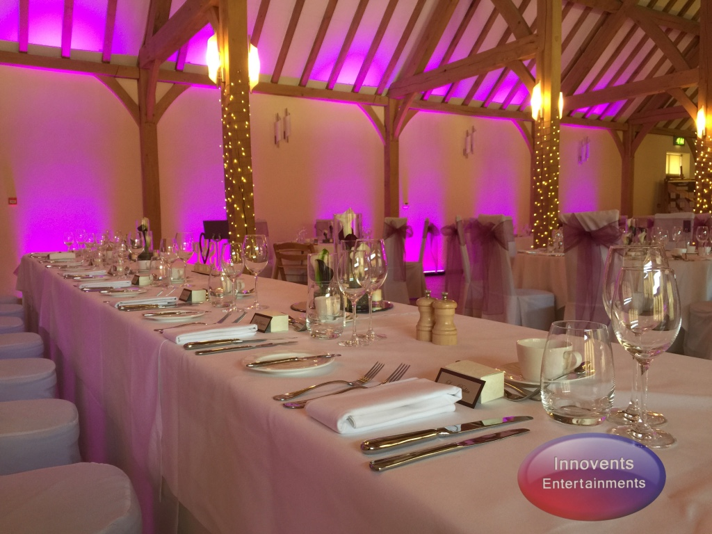 Uplighting at Rivervale Barn - Pink