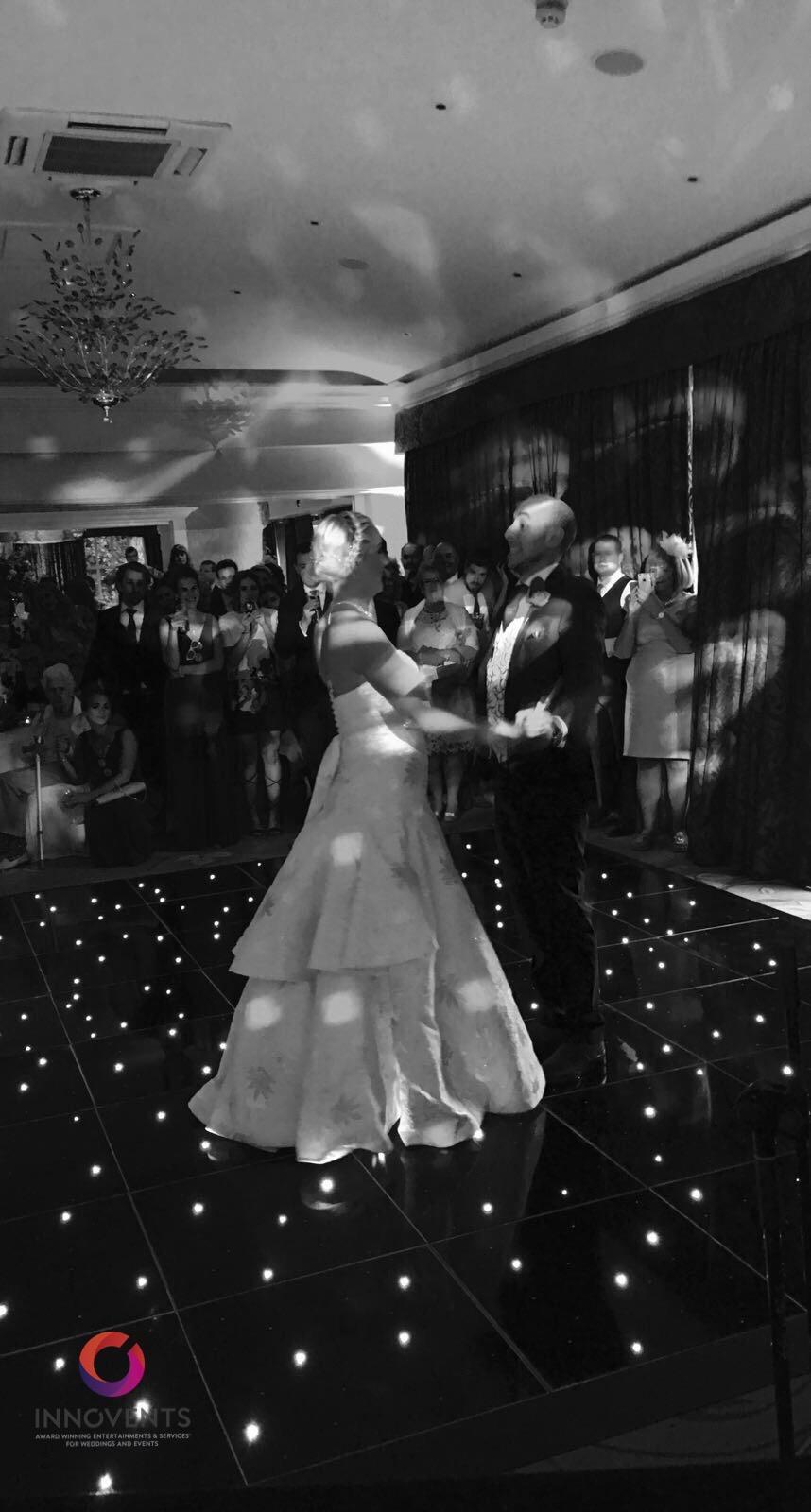 Wedding with black led dance floor