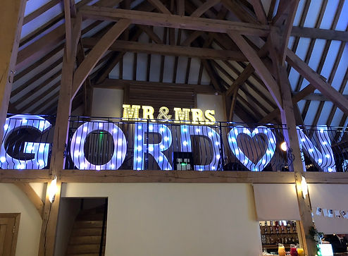 Led Light Up Names including surnames for hire at weddings