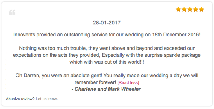 Review for a wedding disco