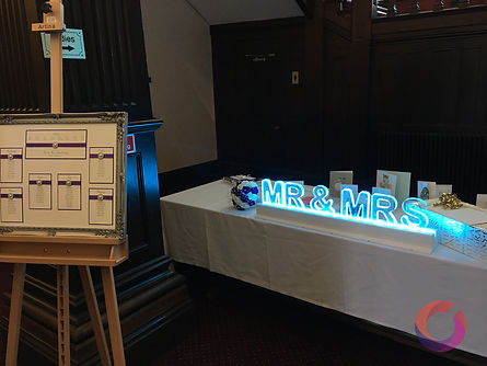 led signs for a wedding in Berkshire