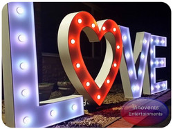led Love letters with the heart