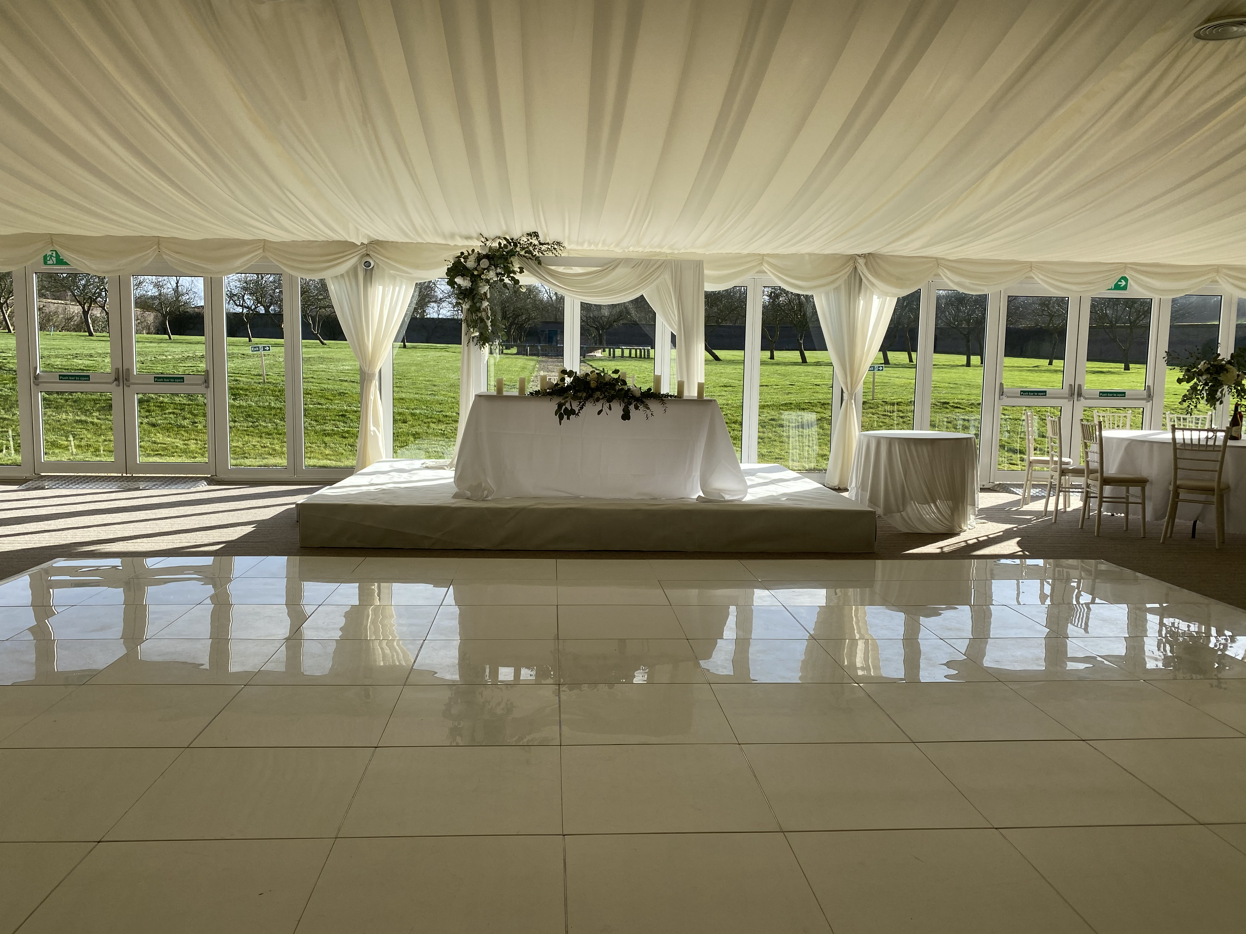 White Stage and White Dance Floor