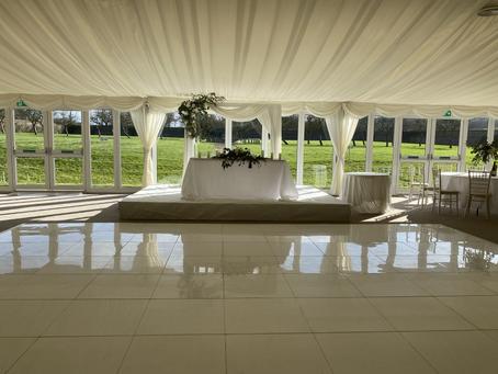 White Stage installation for beautiful wedding venue in Hertfordshire