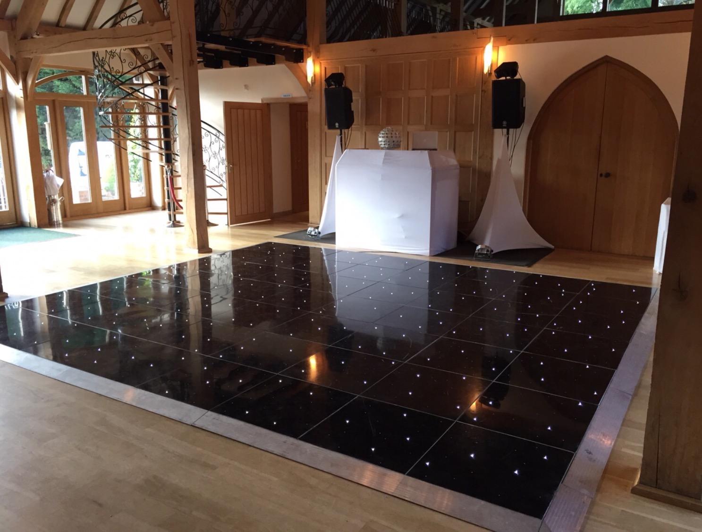 Black led dance floor Rivervale Barn