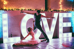 love letters with bride and Groom