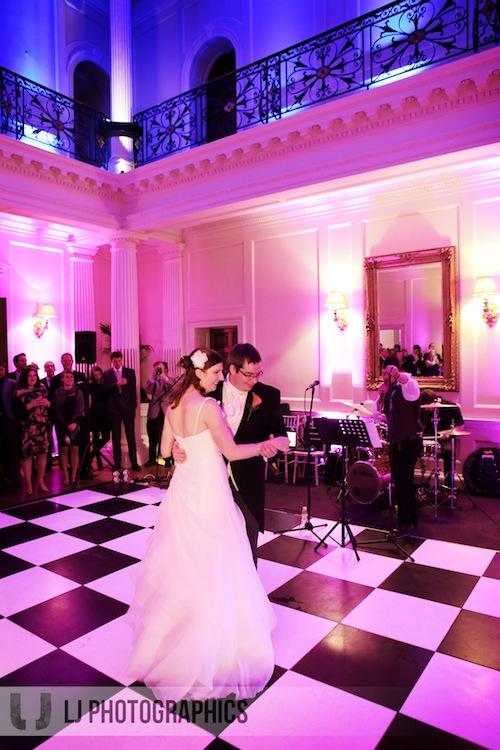 hedsor-house-wedding-Black and white dance floor and uplighting.jpg