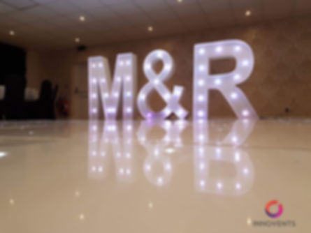 led initials for a wedding in Berkshire