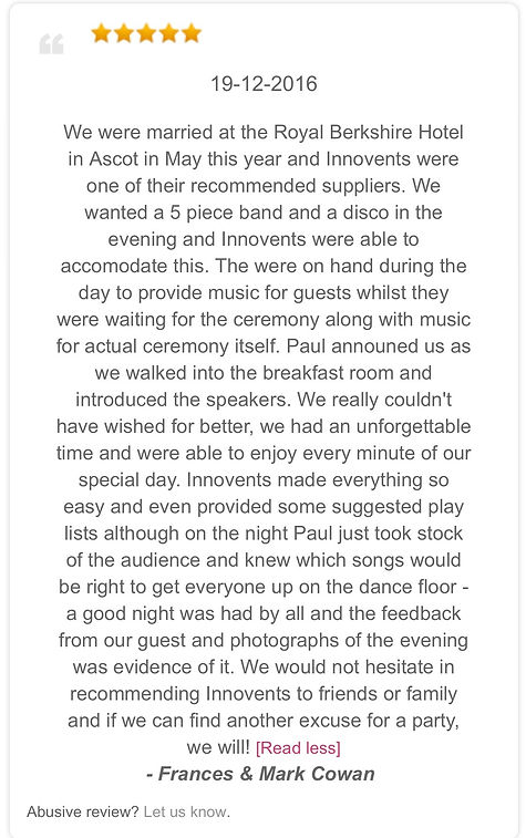 Review from a wedding disco at the Royal Berkshire