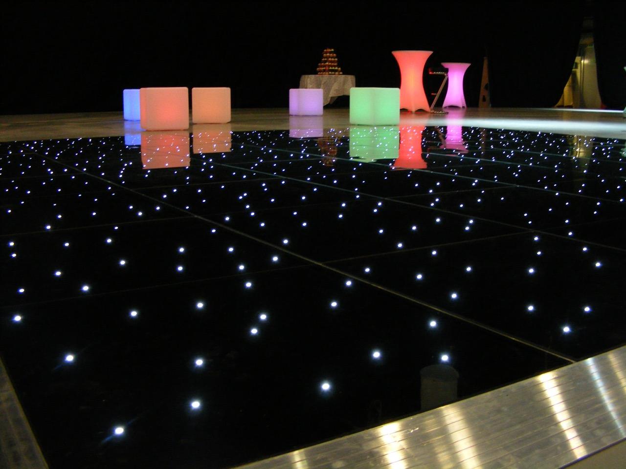 Black led dance floor with led furniture