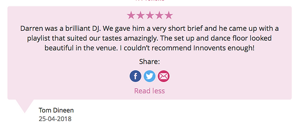 Customer Review from a wedding left on 25.04.18