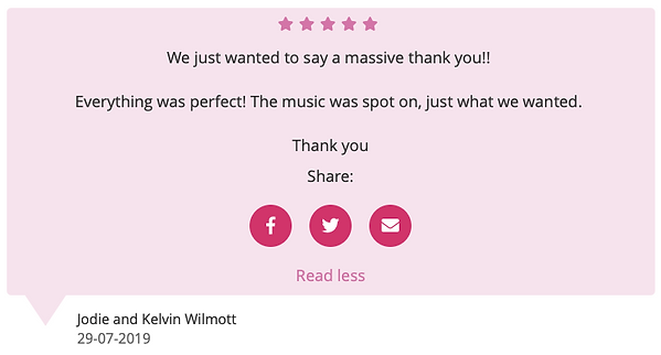 Customer review for wedding dj in berkshire