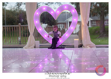 led heart letters for a wedding at Warbrook House