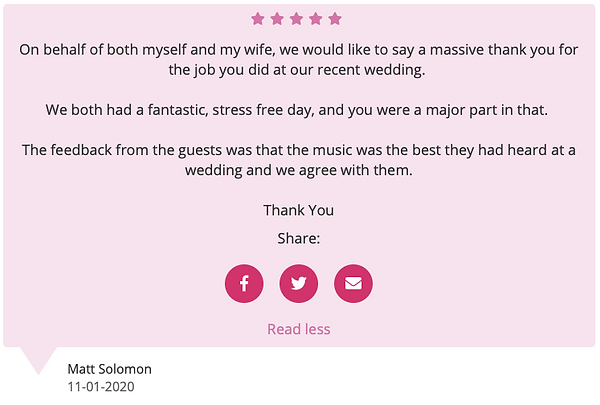 Customer Review For a Wedding DJ and Services