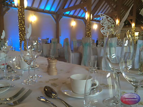 Blue Uplighting at Rivervale Barn in Hampshire