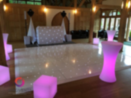 White sparkly led dance floor and matching wedding disco at Rivervale Barn