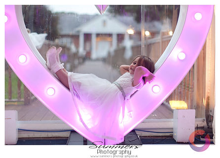 led light up heart for a wedding at Warbrook House, Hampshire