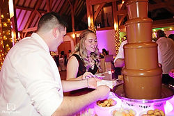 Wedding guests enjoying the Chocolate Fountain at Noerthcote House in Ascot