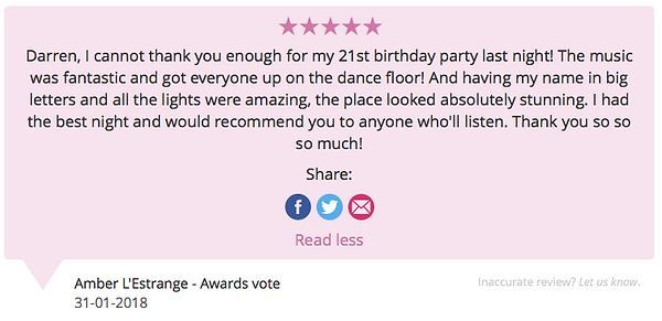 Customer review left on the 31.01.18