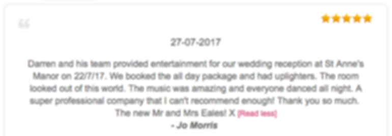 St Anne's Manor Wedding Dj Review