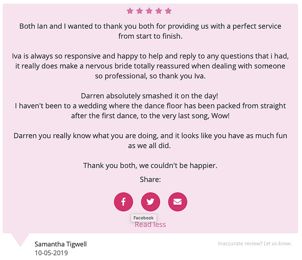 Customer review on our dj service