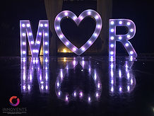 Led LOVE letters at Warbrook House