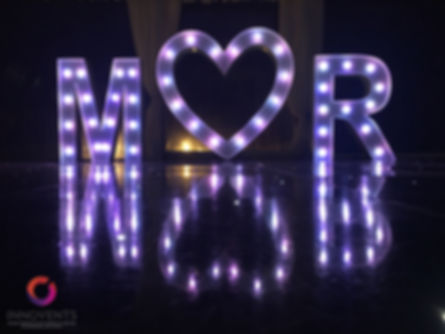 led MR & MRS sign for a wedding at Warbrook House, Hampshire
