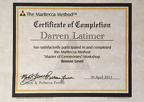 Marbecca certificate of completion master of ceremonies award