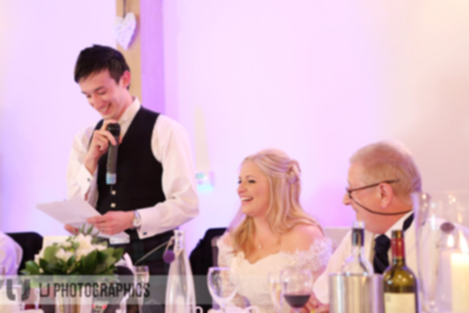 Providing microphones for the wedding speeches at Rivervale Barn