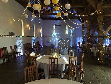 White Uplighting and wedding disco at Ufton Court
