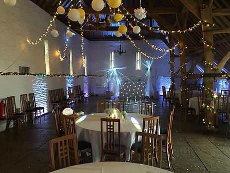 White Uplighting and wedding disco at Ufton Court