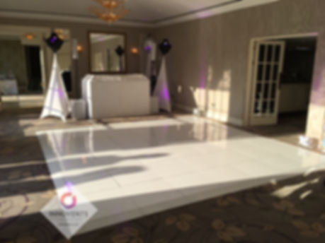 White sparkly led dance floor and matching wedding disco at Royal Berkshire Hotel