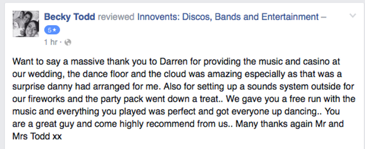 Customer review for a Berkshire Wedding DJ