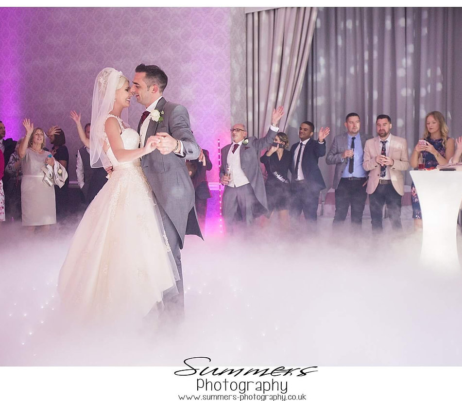 Dancing on the clouds effect for a wedding at Easthampstead Park Conference Centre