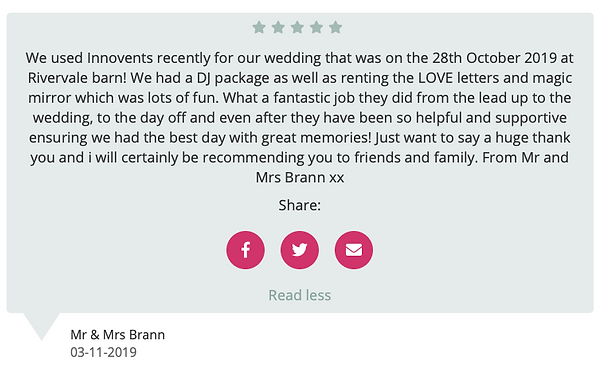 Customer Review for Wedding Disco at Rivervale Barn