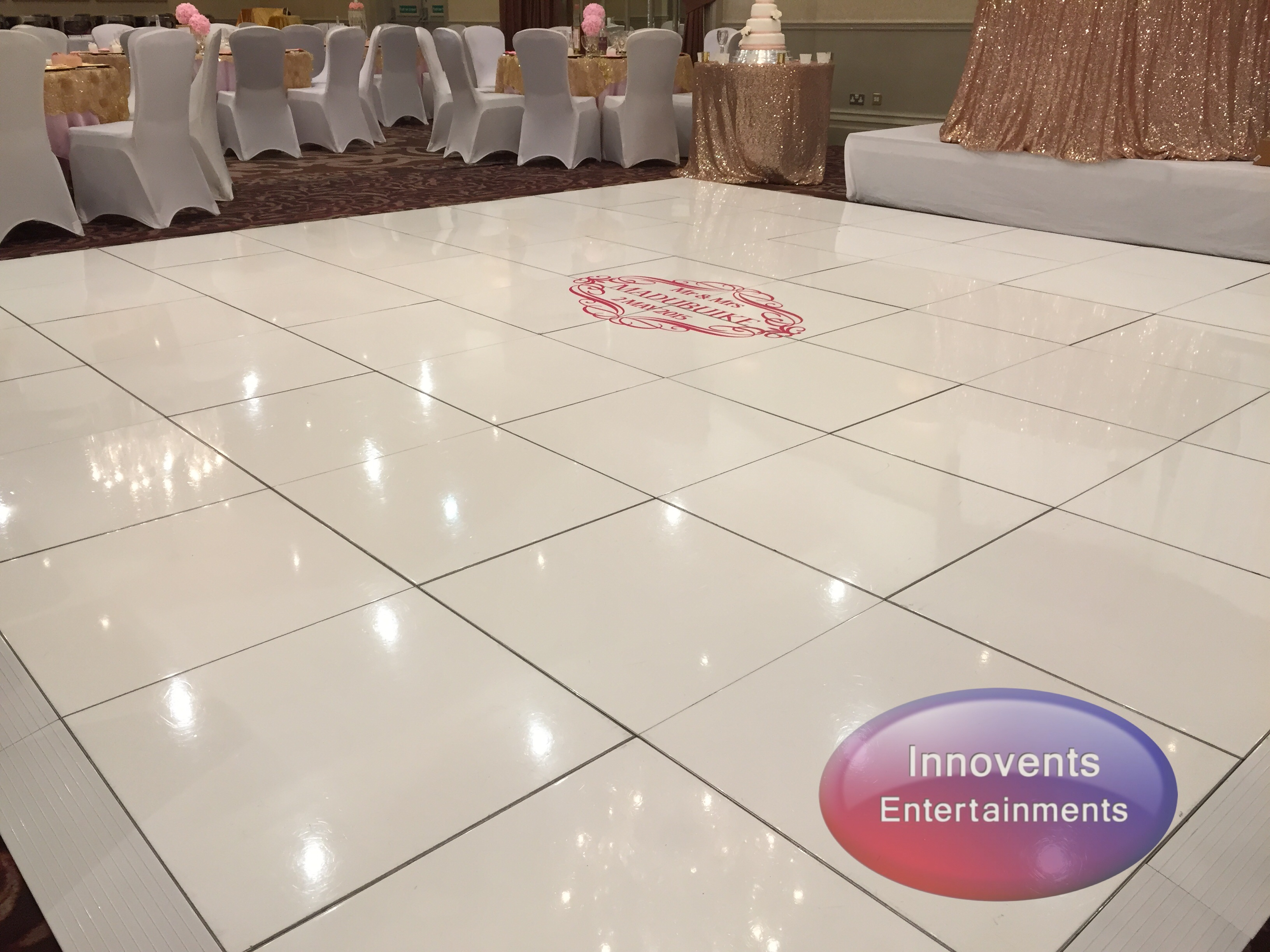 White dance floor - with decal