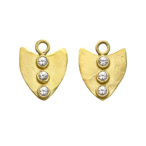 18K Maasai Arrow Earring Charms - White Sapphire