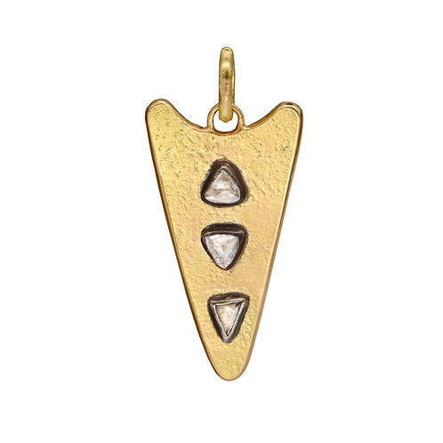 Raw Diamond Gold Spear Pendant