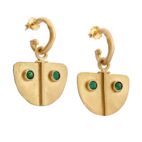18K Shield Earring Charms - Emerald Cabochon